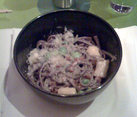 Soba Noodle Carbonara - Our least favorite. Sides starting to hurt.